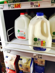 Lucky day! We found a gallon of store brand organic 2% milk about to expire for $2.39!